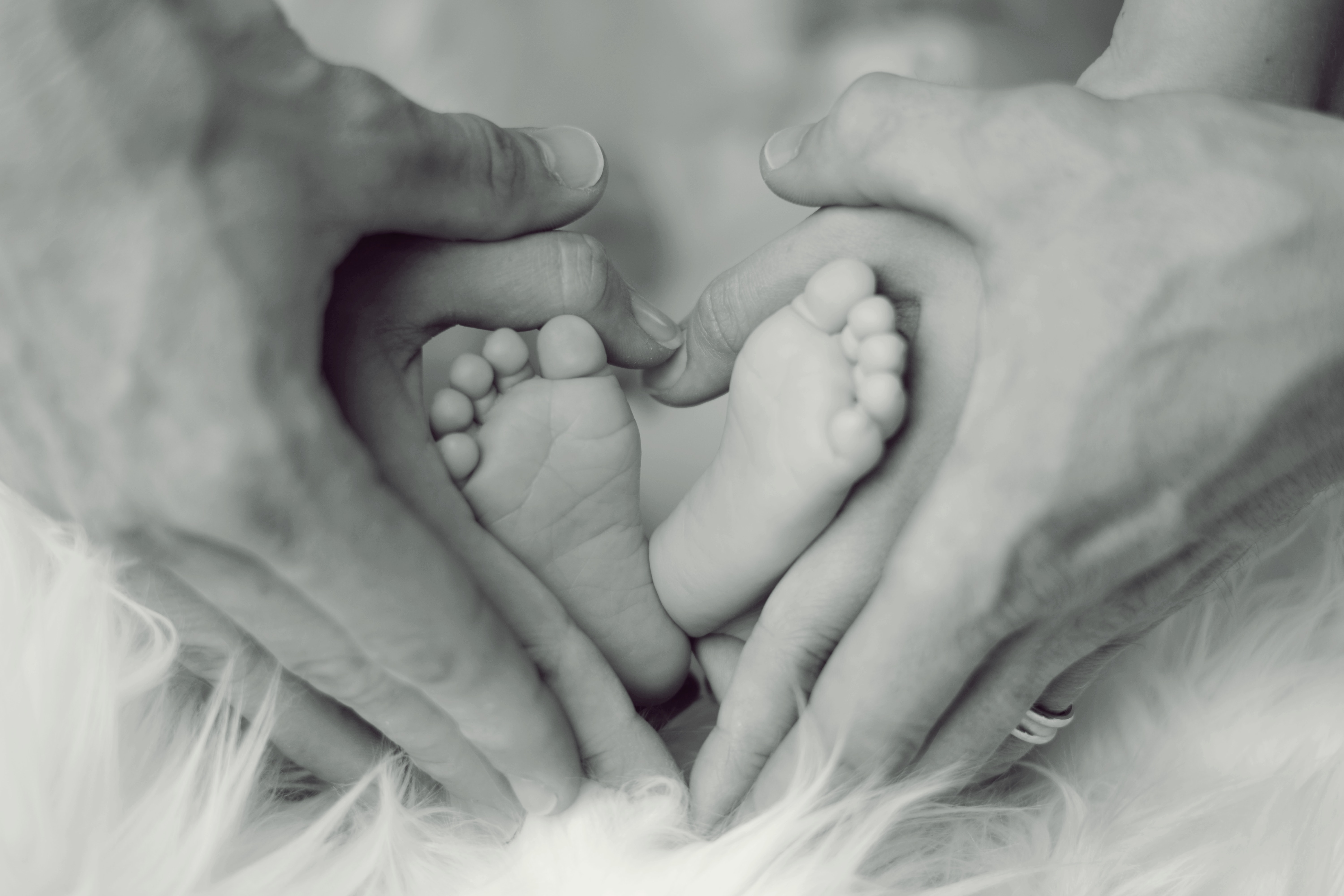 grayscale-photo-of-baby-feet-with-father-and-mother-hands-in-733881